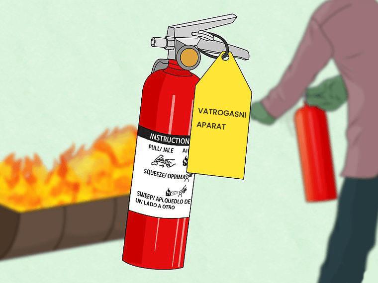 koristiti vatrogasni aparat kako biste ugasili požar