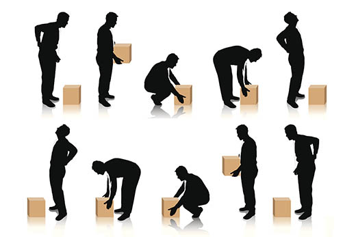 Ilustracija nepravilno podizanje, nošenje i spuštanje tereta